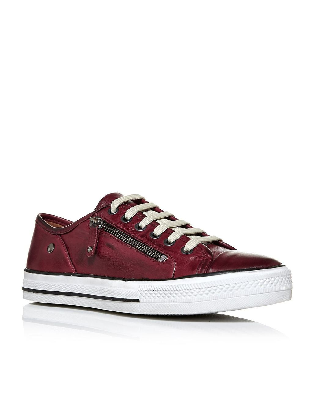 Fianntas Lace Up Trainers, Burgundy - secondary colour: white; predominant colour: burgundy; occasions: casual, activity; material: leather; heel height: flat; toe: round toe; style: trainers; finish: patent; pattern: colourblock; shoe detail: moulded soul; season: s/s 2016