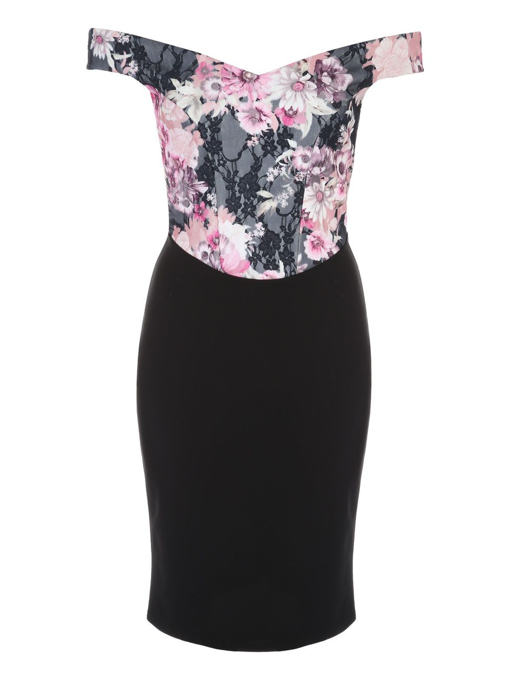 Black Floral Bonded Lace Bardot Dress, Multi Coloured - neckline: off the shoulder; sleeve style: capped; fit: tight; style: bodycon; secondary colour: pink; predominant colour: black; occasions: evening, occasion; length: just above the knee; fibres: polyester/polyamide - stretch; sleeve length: short sleeve; texture group: jersey - clingy; pattern type: fabric; pattern size: big & busy; pattern: florals; multicoloured: multicoloured; season: s/s 2016; wardrobe: event