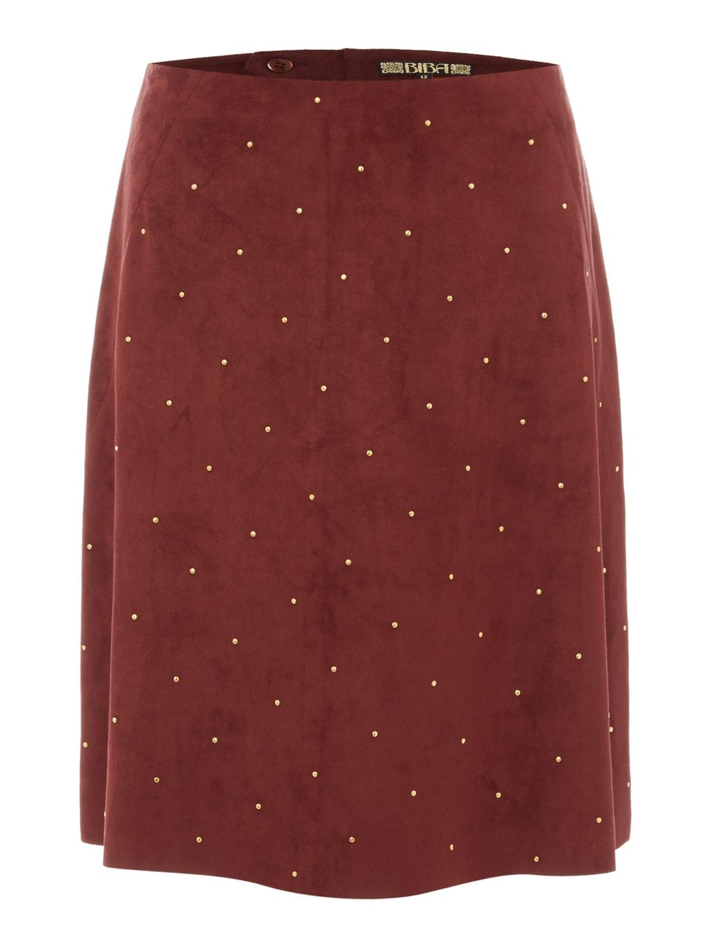Suedette Studded A Line Skirt, Maroon - fit: loose/voluminous; waist: mid/regular rise; predominant colour: burgundy; length: just above the knee; style: a-line; fibres: polyester/polyamide - stretch; pattern type: fabric; pattern: patterned/print; texture group: woven light midweight; occasions: creative work; pattern size: light/subtle (bottom); season: s/s 2016