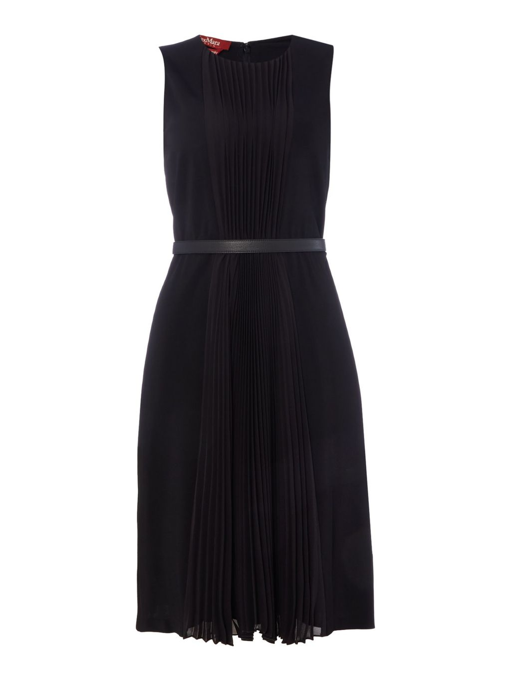 Marche Sleeveless Pleated Dress With Belt, Black - style: shift; neckline: round neck; fit: tailored/fitted; pattern: plain; sleeve style: sleeveless; waist detail: fitted waist; predominant colour: black; occasions: work, occasion; length: just above the knee; fibres: viscose/rayon - stretch; hip detail: subtle/flattering hip detail; sleeve length: sleeveless; pattern type: fabric; texture group: jersey - stretchy/drapey; season: s/s 2016; wardrobe: investment