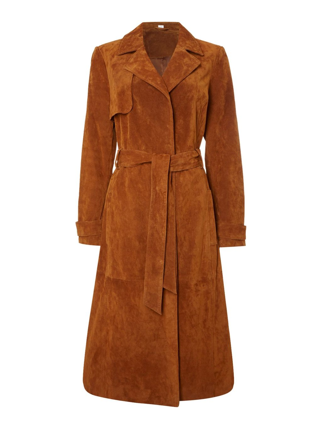 Sian Suede Trench Coat, Tan - pattern: plain; style: trench coat; length: on the knee; collar: standard lapel/rever collar; predominant colour: tan; occasions: casual, creative work; fit: tailored/fitted; fibres: leather - 100%; waist detail: belted waist/tie at waist/drawstring; sleeve length: long sleeve; sleeve style: standard; collar break: medium; pattern type: fabric; texture group: suede; season: s/s 2016; wardrobe: highlight