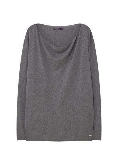 Modal Cotton Blend Sweater - neckline: cowl/draped neck; pattern: plain; style: standard; predominant colour: mid grey; occasions: casual; length: standard; fibres: cotton - 100%; fit: standard fit; sleeve length: long sleeve; sleeve style: standard; texture group: knits/crochet; pattern type: fabric; season: s/s 2016