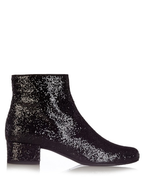 Babies Glitter Ankle Boots - predominant colour: black; occasions: evening; material: leather; heel height: mid; embellishment: glitter; heel: block; toe: round toe; boot length: ankle boot; style: standard; finish: metallic; pattern: plain; season: s/s 2016; wardrobe: event