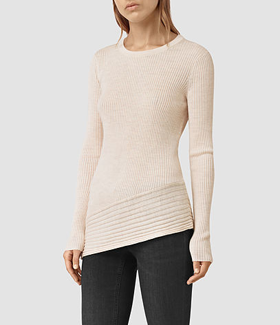 Keld Crew Neck Jumper - neckline: round neck; pattern: plain; length: below the bottom; style: standard; predominant colour: ivory/cream; occasions: casual, creative work; fibres: wool - 100%; fit: slim fit; sleeve length: long sleeve; sleeve style: standard; texture group: knits/crochet; pattern type: knitted - fine stitch; season: s/s 2016; wardrobe: basic