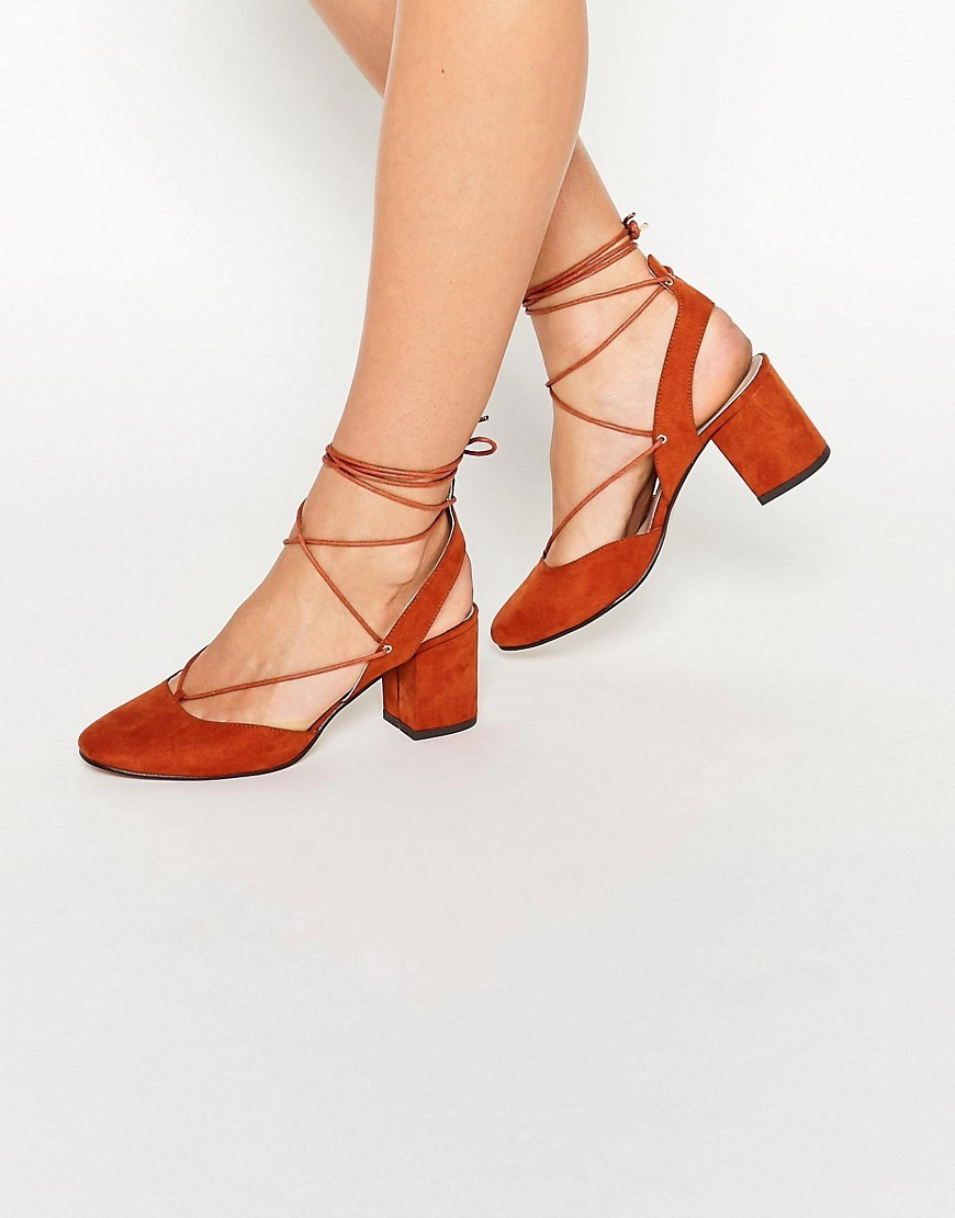 Serene Lace Up Heels Rust - predominant colour: terracotta; occasions: casual, creative work; material: suede; heel height: mid; ankle detail: ankle tie; heel: block; toe: round toe; style: courts; finish: plain; pattern: plain; season: s/s 2016; wardrobe: highlight