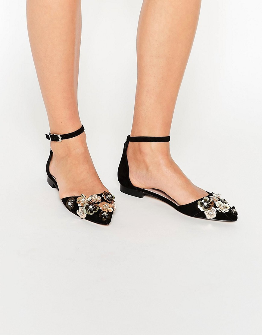 Landscape Embellished Ballet Flats Black - predominant colour: black; occasions: casual, evening; heel height: flat; embellishment: crystals/glass; ankle detail: ankle strap; toe: pointed toe; style: ballerinas / pumps; finish: plain; pattern: plain; material: faux suede; season: s/s 2016; wardrobe: basic