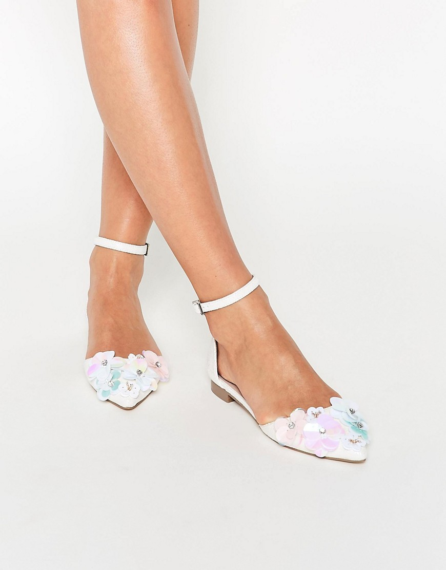 Landscape Embellished Ballet Flats White - predominant colour: ivory/cream; occasions: evening, creative work; material: animal skin; heel height: flat; ankle detail: ankle strap; toe: pointed toe; style: ballerinas / pumps; finish: plain; pattern: plain; season: s/s 2016; wardrobe: highlight