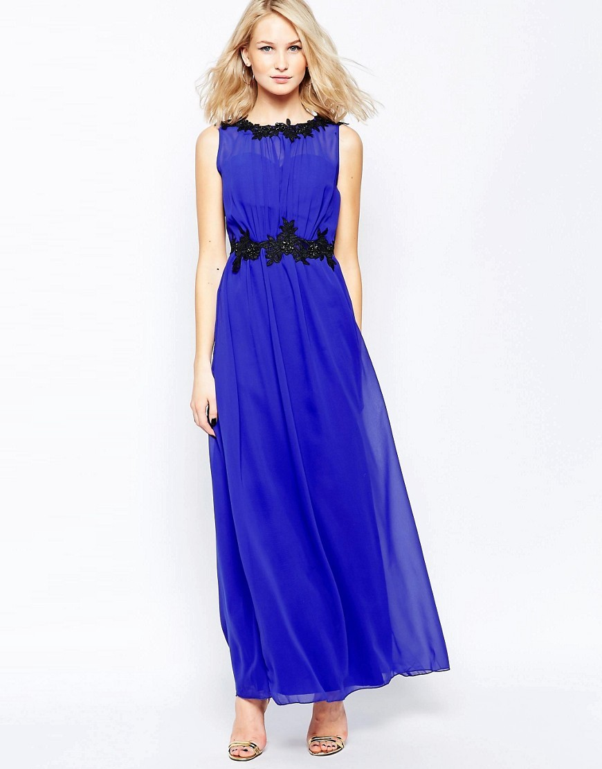 Embroidered Chiffon Maxi Dress Blue - pattern: plain; sleeve style: sleeveless; style: maxi dress; length: ankle length; waist detail: belted waist/tie at waist/drawstring; predominant colour: royal blue; secondary colour: black; occasions: evening; fit: body skimming; fibres: polyester/polyamide - 100%; neckline: crew; sleeve length: sleeveless; texture group: sheer fabrics/chiffon/organza etc.; pattern type: fabric; embellishment: lace; multicoloured: multicoloured; season: s/s 2016; wardrobe: event