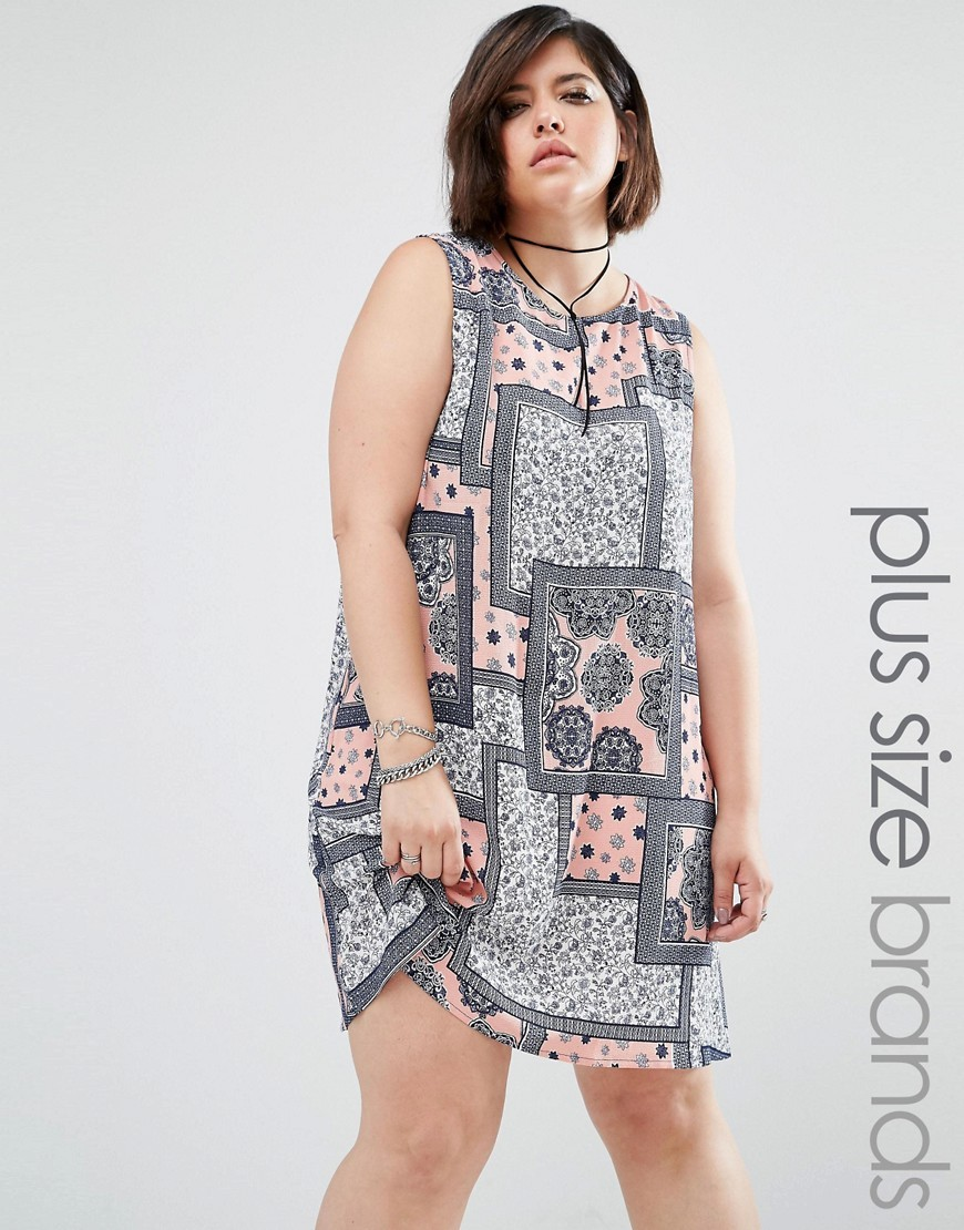 Sleeveless Patched Print Shift Dress Multi - style: tunic; sleeve style: sleeveless; secondary colour: nude; predominant colour: black; length: just above the knee; fit: soft a-line; fibres: polyester/polyamide - 100%; neckline: crew; sleeve length: sleeveless; pattern type: fabric; pattern size: standard; pattern: patterned/print; texture group: woven light midweight; occasions: creative work; multicoloured: multicoloured; season: s/s 2016; wardrobe: highlight