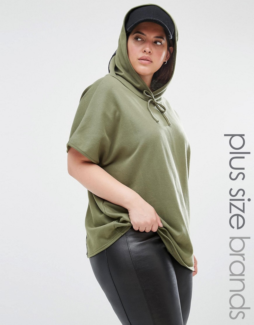 Lounge Mesh Insert Hoodie Khaki - pattern: plain; neckline: high neck; style: standard; predominant colour: khaki; occasions: casual; length: standard; fibres: cotton - mix; fit: loose; sleeve length: short sleeve; sleeve style: standard; pattern type: fabric; texture group: jersey - stretchy/drapey; season: s/s 2016; wardrobe: highlight; embellishment: contrast fabric; embellishment location: bust