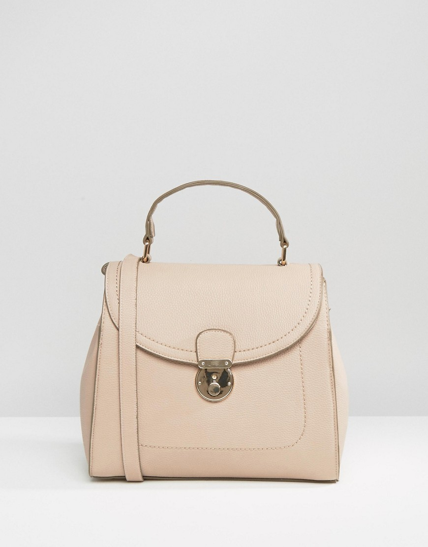 Lock Detail Tote Bag Nude - predominant colour: nude; occasions: casual, creative work; type of pattern: standard; style: tote; length: handle; size: standard; material: faux leather; pattern: plain; finish: plain; season: s/s 2016; wardrobe: investment