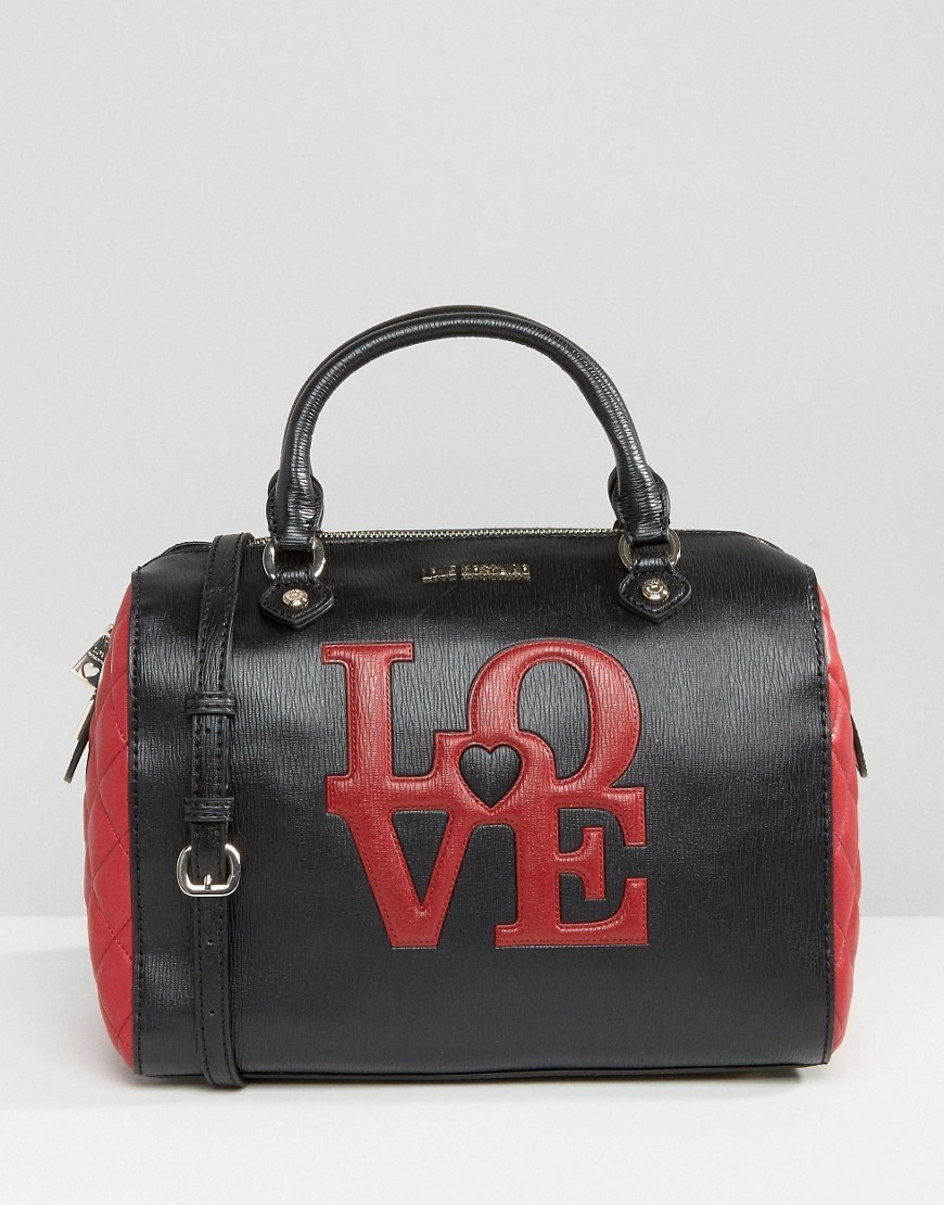 Love Bowler Tote Bag Ros - secondary colour: true red; predominant colour: black; occasions: casual, creative work; type of pattern: standard; style: bowling; length: handle; size: standard; material: faux leather; finish: plain; pattern: patterned/print; season: s/s 2016; wardrobe: highlight