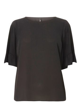 Black Trumpet Sleeve Top - neckline: round neck; sleeve style: angel/waterfall; pattern: plain; predominant colour: black; occasions: casual, evening, work, creative work; length: standard; style: top; fibres: polyester/polyamide - 100%; fit: body skimming; sleeve length: short sleeve; pattern type: fabric; texture group: other - light to midweight; season: s/s 2016; wardrobe: basic