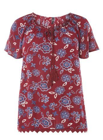 Red Floral Print Gypsy Top - neckline: round neck; sleeve style: angel/waterfall; predominant colour: burgundy; occasions: casual, creative work; length: standard; style: top; fibres: viscose/rayon - 100%; fit: body skimming; sleeve length: short sleeve; pattern type: fabric; pattern size: standard; pattern: florals; texture group: other - light to midweight; multicoloured: multicoloured; season: s/s 2016; wardrobe: highlight