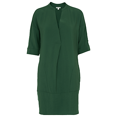 Lulu Dress - style: shift; fit: tailored/fitted; pattern: plain; predominant colour: dark green; occasions: evening; length: just above the knee; neckline: collarstand & mandarin with v-neck; sleeve length: half sleeve; sleeve style: standard; texture group: silky - light; pattern type: fabric; fibres: viscose/rayon - mix; season: s/s 2016; wardrobe: event