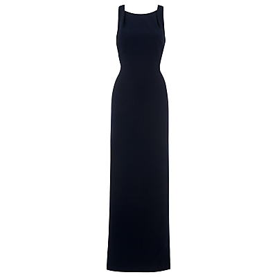 Tie Back Maxi Dress, Navy - pattern: plain; sleeve style: sleeveless; style: maxi dress; length: ankle length; predominant colour: navy; occasions: evening, occasion; fit: body skimming; fibres: polyester/polyamide - stretch; neckline: crew; sleeve length: sleeveless; pattern type: fabric; texture group: jersey - stretchy/drapey; season: s/s 2016