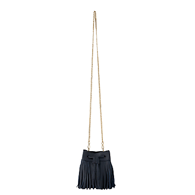 Sidney Fringe Bag - secondary colour: gold; predominant colour: black; occasions: casual, creative work; type of pattern: standard; style: messenger; length: across body/long; size: small; material: leather; embellishment: fringing; pattern: plain; finish: plain; season: s/s 2016; wardrobe: highlight