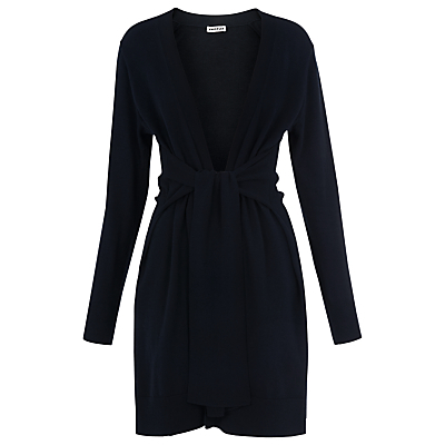 Tie Cardigan, Navy - neckline: v-neck; pattern: plain; style: belted; predominant colour: navy; occasions: casual, work, creative work; fibres: cotton - mix; fit: loose; length: mid thigh; waist detail: belted waist/tie at waist/drawstring; sleeve length: long sleeve; sleeve style: standard; texture group: knits/crochet; pattern type: knitted - fine stitch; season: s/s 2016; wardrobe: basic
