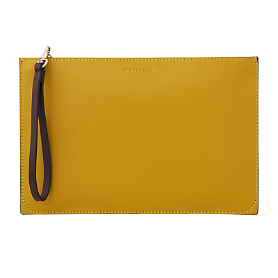 Java Colourblock Leather Wristlet - predominant colour: yellow; secondary colour: black; occasions: evening; type of pattern: standard; style: clutch; length: hand carry; size: standard; material: leather; finish: plain; pattern: colourblock; season: s/s 2016; wardrobe: event