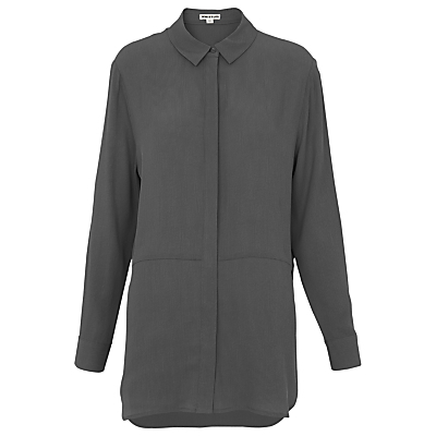Oversize Textured Shirt, Grey - neckline: shirt collar/peter pan/zip with opening; pattern: plain; length: below the bottom; style: shirt; predominant colour: charcoal; occasions: casual, work; fibres: cotton - 100%; fit: body skimming; sleeve length: long sleeve; sleeve style: standard; pattern type: fabric; texture group: other - light to midweight; season: s/s 2016; wardrobe: basic
