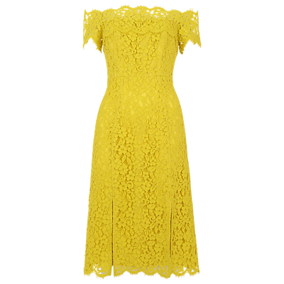 Off Shoulder Lace Dress, Yellow - length: below the knee; neckline: off the shoulder; predominant colour: yellow; fit: fitted at waist & bust; style: fit & flare; fibres: polyester/polyamide - 100%; occasions: occasion; sleeve length: short sleeve; sleeve style: standard; texture group: lace; pattern type: fabric; pattern: patterned/print; embellishment: lace; season: s/s 2016; wardrobe: event