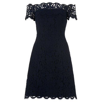 Off Short Shoulder Lace Dress, Navy - neckline: off the shoulder; predominant colour: navy; occasions: evening, occasion; length: on the knee; fit: fitted at waist & bust; style: fit & flare; fibres: polyester/polyamide - 100%; sleeve length: short sleeve; sleeve style: standard; texture group: lace; pattern type: fabric; pattern size: standard; pattern: patterned/print; embellishment: lace; season: s/s 2016; wardrobe: event