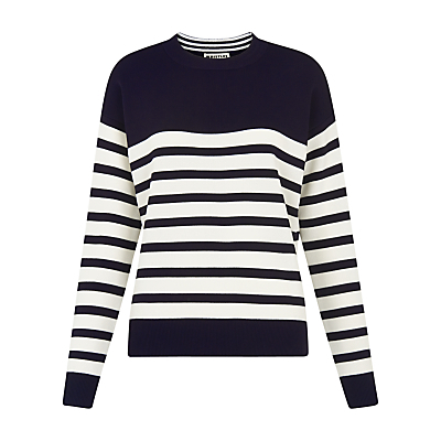 Slouchy Breton Jumper, Navy - pattern: horizontal stripes; style: standard; secondary colour: white; predominant colour: navy; occasions: casual; length: standard; fit: slim fit; neckline: crew; sleeve length: long sleeve; sleeve style: standard; texture group: knits/crochet; pattern type: knitted - fine stitch; fibres: viscose/rayon - mix; multicoloured: multicoloured; season: s/s 2016; wardrobe: highlight