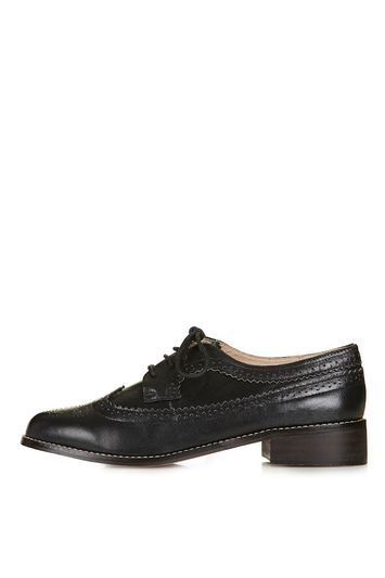 Fate Leather Lace Up Brogue Shoe - predominant colour: black; occasions: casual, creative work; material: leather; heel height: flat; toe: round toe; style: brogues; finish: plain; pattern: plain; trends: tomboy girl; season: s/s 2016