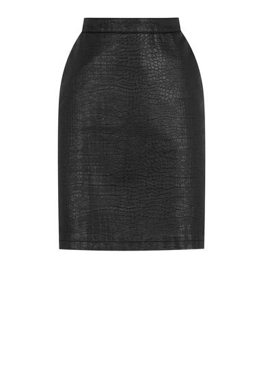 Faux Leather Croc Skirt - pattern: plain; style: pencil; fit: tailored/fitted; waist: high rise; predominant colour: black; occasions: casual, creative work; length: just above the knee; fibres: polyester/polyamide - 100%; waist detail: narrow waistband; texture group: leather; pattern type: fabric; season: s/s 2016