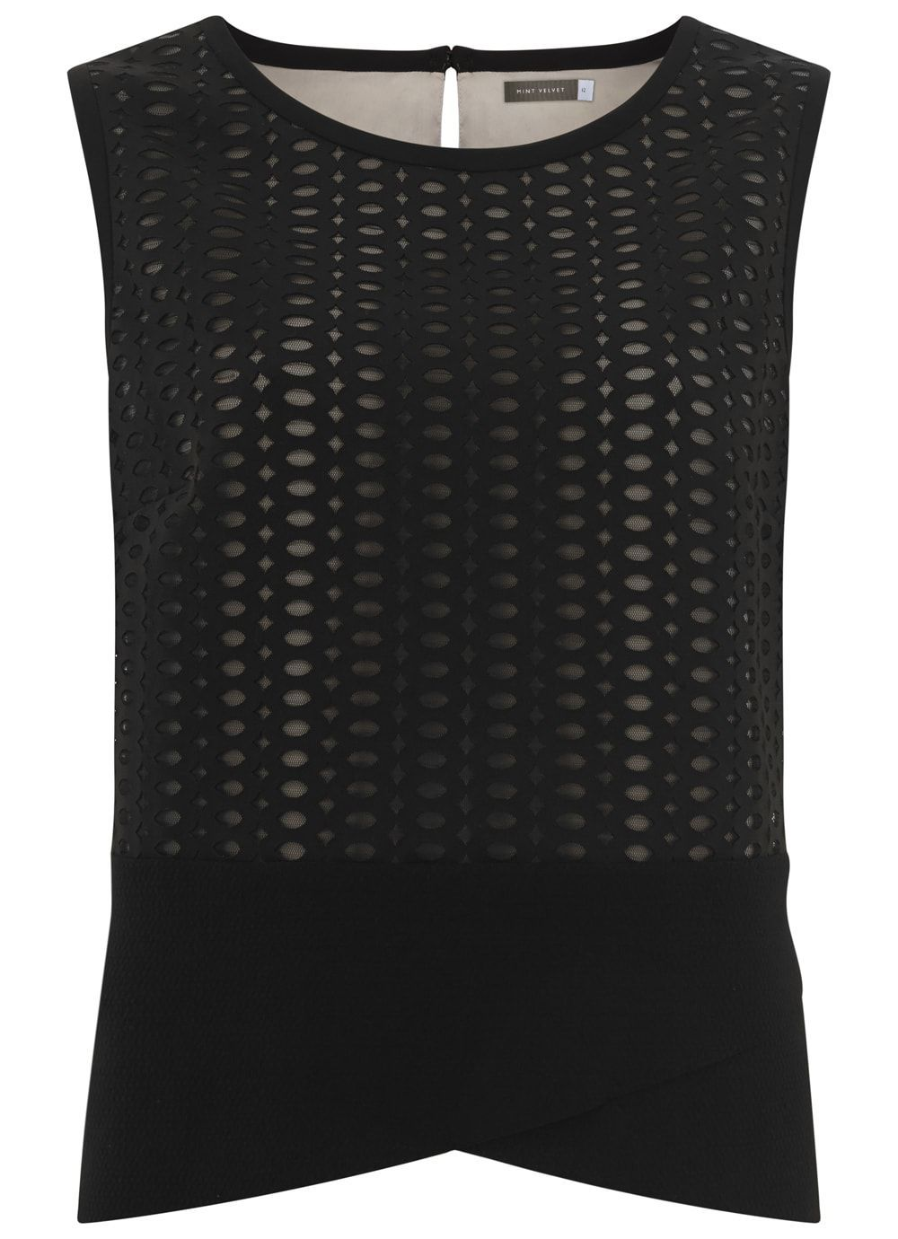 Black Mesh Shell Top, Black - neckline: round neck; sleeve style: sleeveless; predominant colour: black; occasions: casual, creative work; length: standard; style: top; fibres: polyester/polyamide - mix; fit: body skimming; sleeve length: sleeveless; pattern type: fabric; pattern: patterned/print; texture group: jersey - stretchy/drapey; season: s/s 2016; wardrobe: highlight