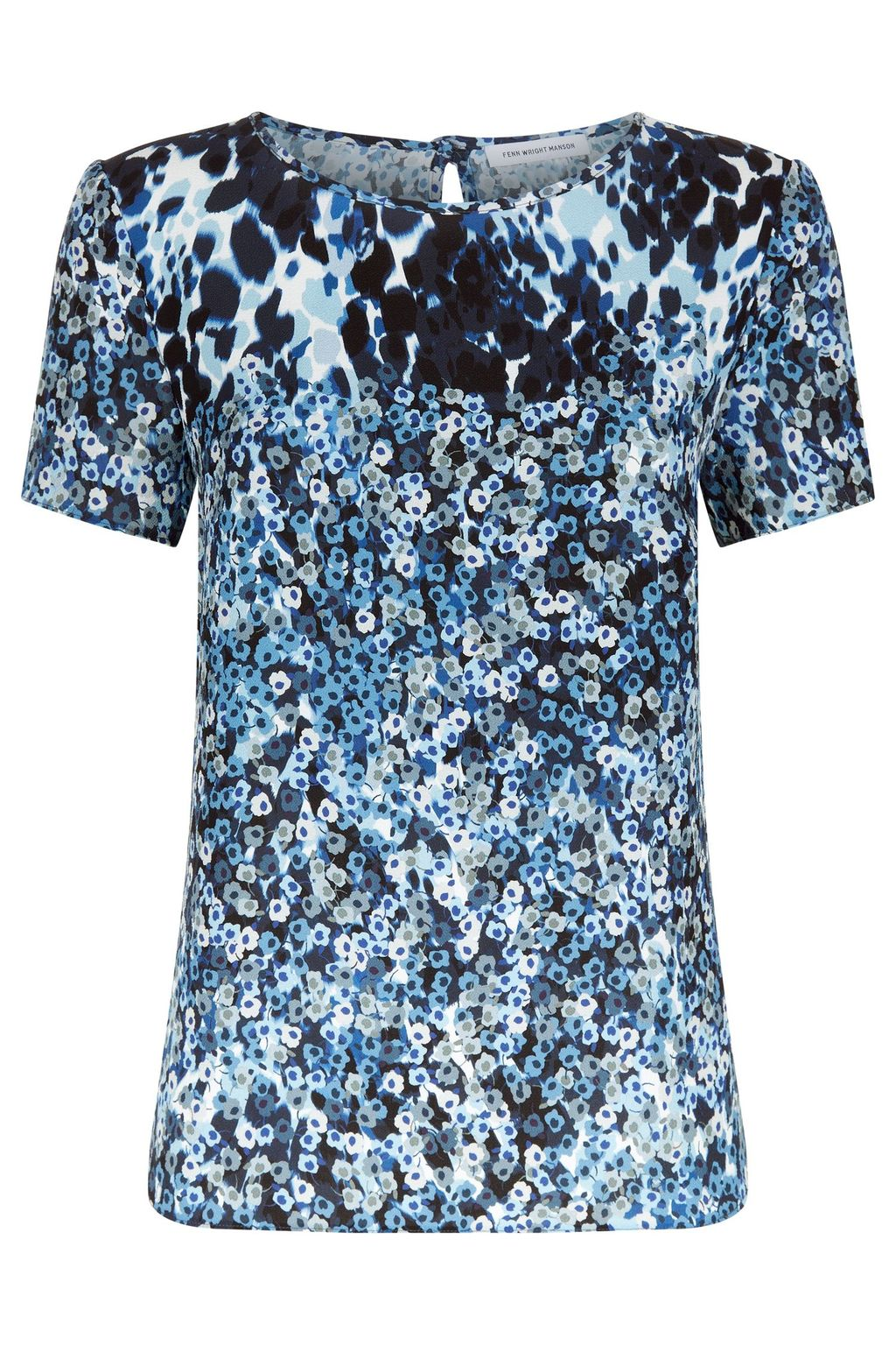 Cosmic Top, Blue Multi - neckline: round neck; predominant colour: pale blue; secondary colour: black; occasions: casual; length: standard; style: top; fibres: polyester/polyamide - stretch; fit: body skimming; sleeve length: short sleeve; sleeve style: standard; pattern type: fabric; pattern: animal print; texture group: jersey - stretchy/drapey; pattern size: big & busy (top); multicoloured: multicoloured; season: s/s 2016