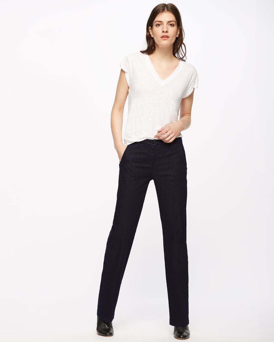 Kingston Straight Leg Jeans - style: straight leg; length: standard; pattern: plain; pocket detail: traditional 5 pocket; waist: mid/regular rise; predominant colour: black; occasions: casual, evening, creative work; fibres: cotton - stretch; texture group: denim; pattern type: fabric; season: s/s 2016; wardrobe: basic