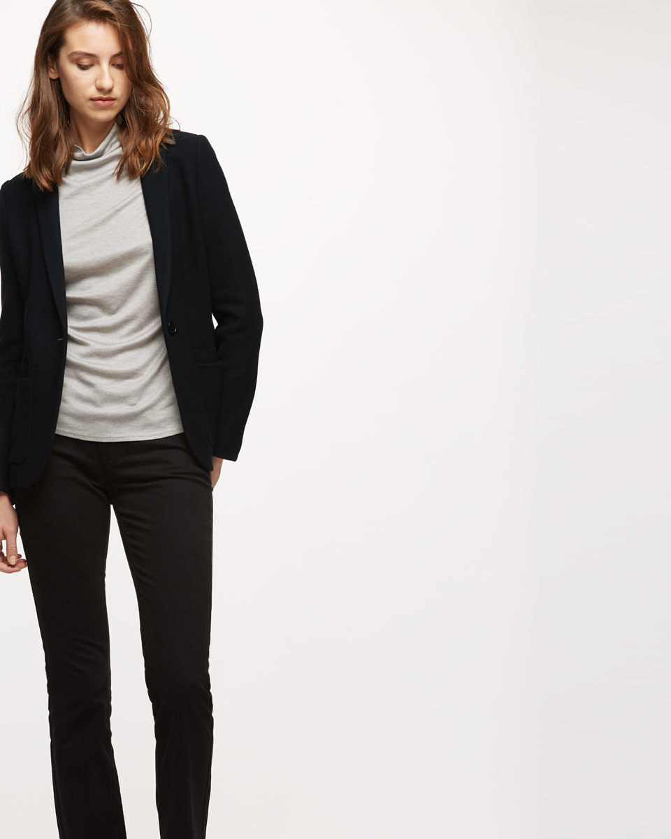 Double Knit Jacket - pattern: plain; style: single breasted blazer; collar: round collar/collarless; predominant colour: black; occasions: casual; length: standard; fit: tailored/fitted; fibres: wool - mix; sleeve length: long sleeve; sleeve style: standard; texture group: knits/crochet; collar break: low/open; pattern type: knitted - other; season: s/s 2016; wardrobe: basic