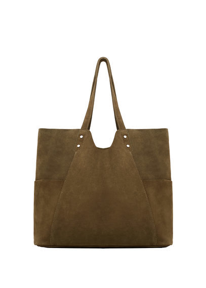 Leather Shopper Bag - predominant colour: chocolate brown; occasions: casual, creative work; type of pattern: standard; style: tote; length: shoulder (tucks under arm); size: standard; material: suede; pattern: plain; finish: plain; season: s/s 2016; wardrobe: investment
