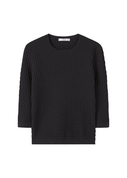 Textured Sweater - neckline: round neck; pattern: plain; style: standard; predominant colour: black; occasions: casual, work, creative work; length: standard; fibres: polyester/polyamide - 100%; fit: standard fit; sleeve length: 3/4 length; sleeve style: standard; texture group: knits/crochet; pattern type: knitted - fine stitch; season: s/s 2016; wardrobe: basic