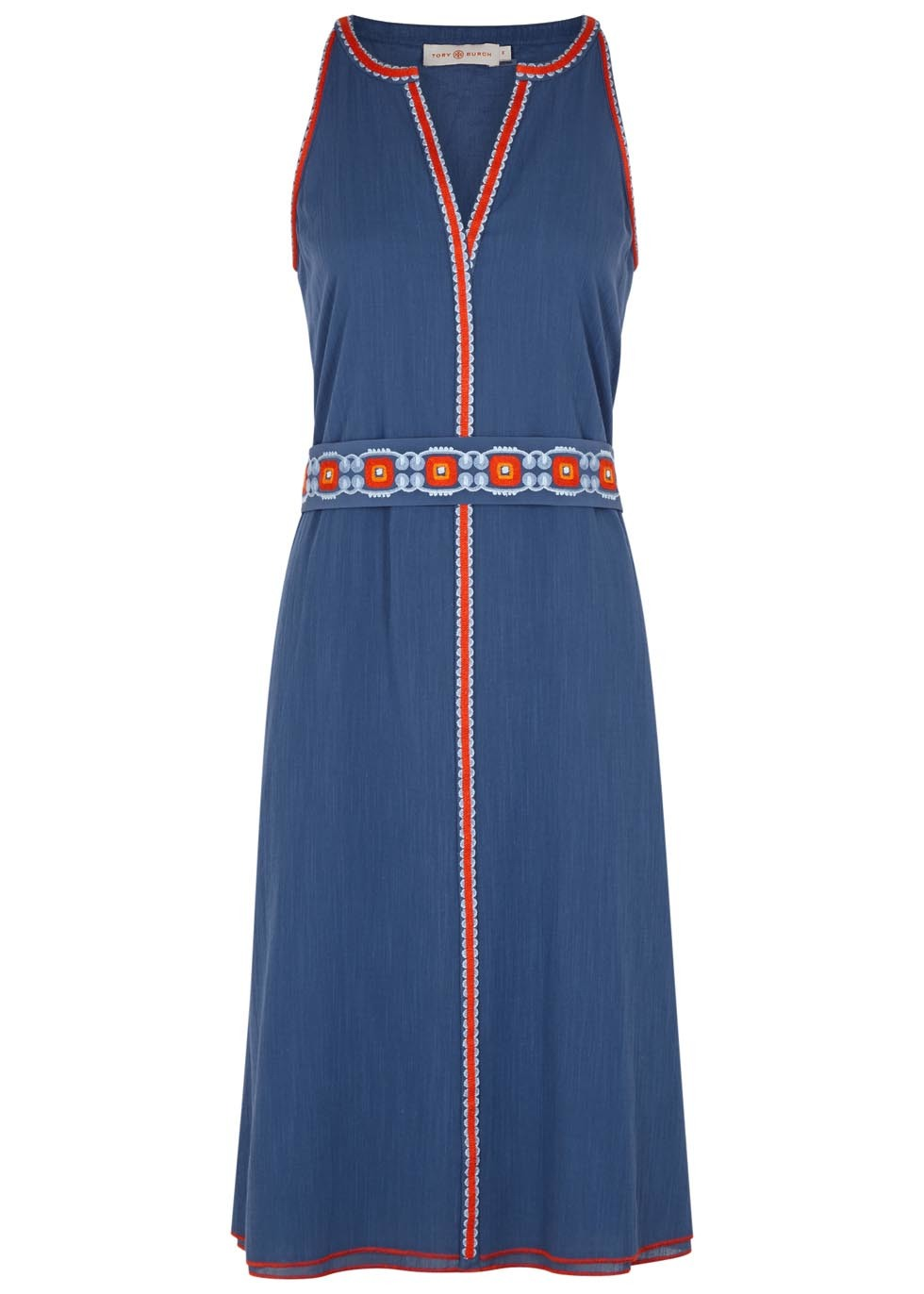 Savannah Embroidered Gauze Dress - style: shift; neckline: v-neck; sleeve style: sleeveless; secondary colour: true red; predominant colour: navy; occasions: casual; length: on the knee; fit: body skimming; fibres: cotton - mix; sleeve length: sleeveless; pattern type: fabric; pattern size: standard; pattern: patterned/print; texture group: other - light to midweight; multicoloured: multicoloured; season: s/s 2016; wardrobe: highlight