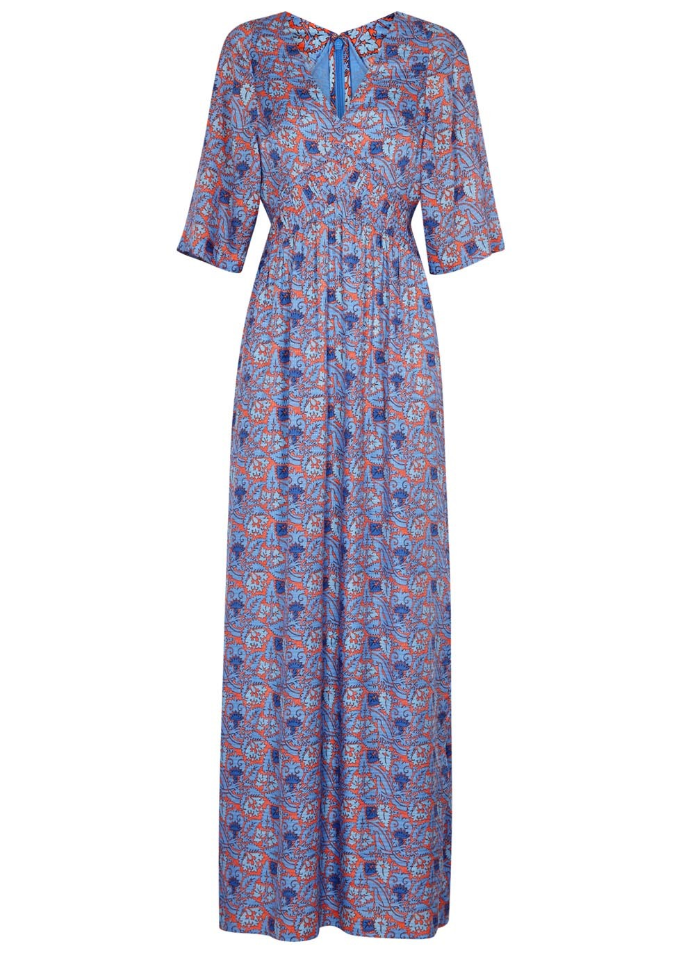 Corrine Printed Silk Blend Maxi Dress - neckline: v-neck; style: maxi dress; secondary colour: pink; predominant colour: pale blue; occasions: evening; length: floor length; fit: body skimming; fibres: silk - 100%; sleeve length: half sleeve; sleeve style: standard; pattern type: fabric; pattern: patterned/print; texture group: other - light to midweight; multicoloured: multicoloured; season: s/s 2016; wardrobe: event