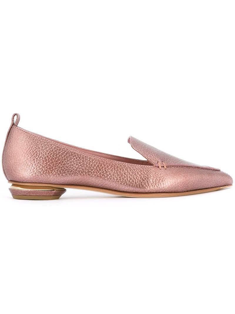 'beya' Loafers, Women's, Size: 37.5, Pink/Purple - occasions: casual, creative work; material: leather; heel height: flat; toe: pointed toe; style: loafers; finish: metallic; pattern: plain; predominant colour: dusky pink; season: s/s 2016; wardrobe: highlight