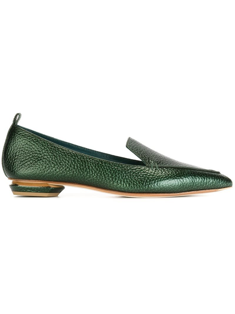 'beya' Loafers, Women's, Green - predominant colour: dark green; occasions: casual, creative work; material: leather; heel height: flat; toe: pointed toe; style: loafers; finish: metallic; pattern: plain; season: s/s 2016