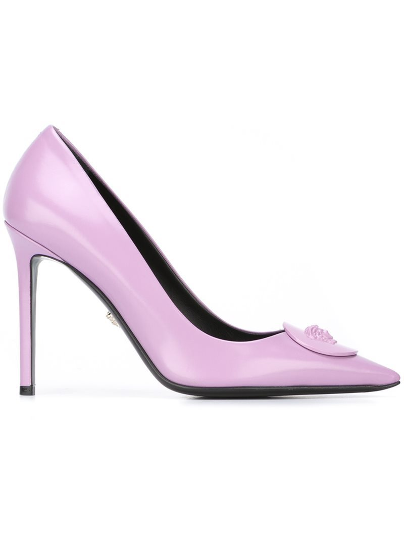 'palazzo Medusa' Pumps, Women's, Pink/Purple - predominant colour: lilac; occasions: evening, occasion; material: leather; heel height: high; heel: stiletto; toe: pointed toe; style: courts; finish: plain; pattern: plain; season: s/s 2016; wardrobe: event
