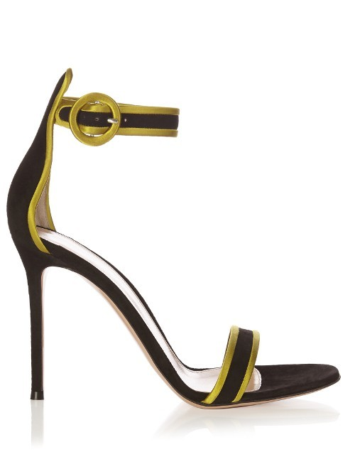 Portofino Contrast Trimmed Suede Sandals - secondary colour: lime; predominant colour: black; occasions: evening; material: suede; ankle detail: ankle strap; heel: stiletto; toe: open toe/peeptoe; style: standard; finish: plain; pattern: plain; heel height: very high; multicoloured: multicoloured; season: s/s 2016