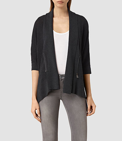 Ali Cardigan - pattern: plain; neckline: collarless open; style: open front; predominant colour: black; occasions: casual; length: standard; fibres: wool - 100%; fit: slim fit; sleeve length: 3/4 length; sleeve style: standard; texture group: knits/crochet; pattern type: knitted - fine stitch; season: s/s 2016