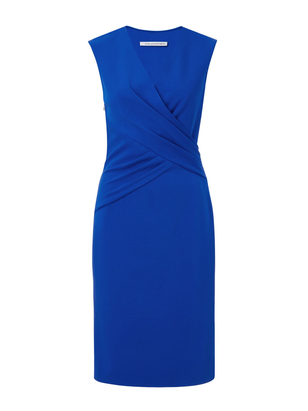 Leora Dress - style: faux wrap/wrap; neckline: v-neck; pattern: plain; sleeve style: sleeveless; predominant colour: royal blue; occasions: evening; length: on the knee; fit: body skimming; fibres: viscose/rayon - stretch; sleeve length: sleeveless; pattern type: fabric; texture group: jersey - stretchy/drapey; season: s/s 2016