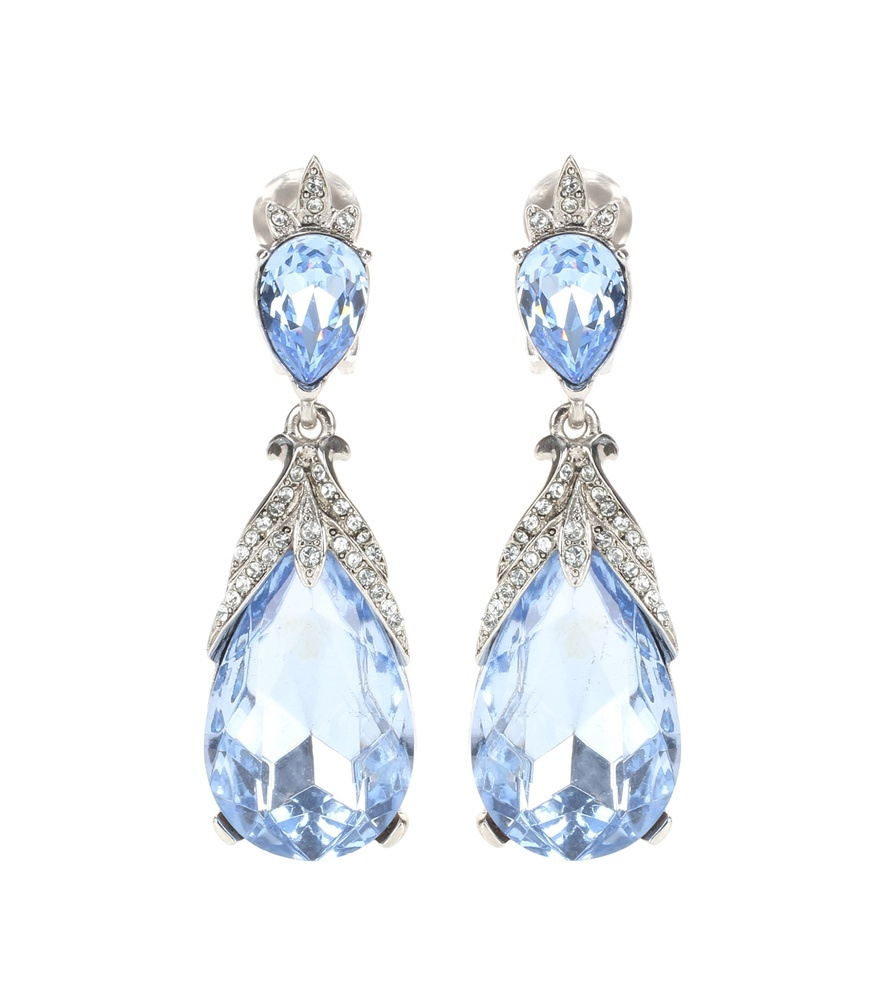 Crystal Embellished Clip On Earrings - predominant colour: pale blue; secondary colour: silver; occasions: evening, occasion; style: chandelier; length: long; size: large/oversized; material: chain/metal; fastening: pierced; finish: metallic; embellishment: jewels/stone; season: s/s 2016; wardrobe: event