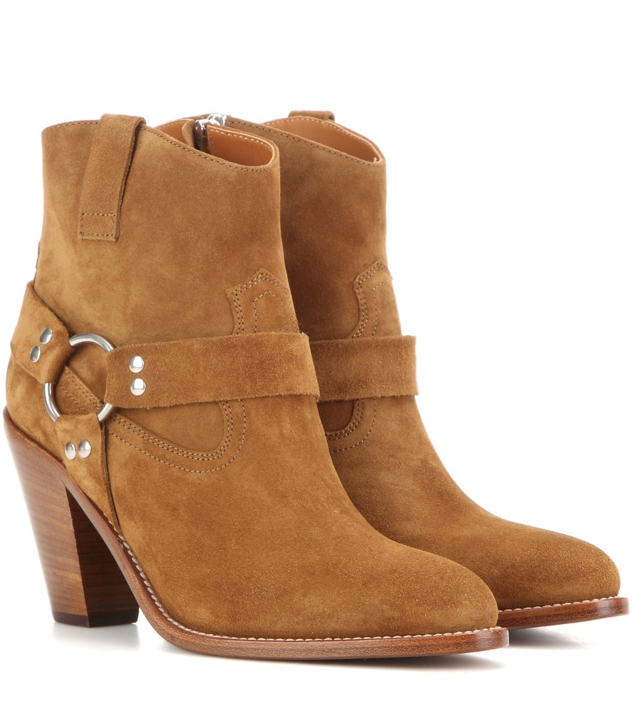 Curtis 80 Harness Suede Ankle Boots - predominant colour: tan; occasions: casual, creative work; material: suede; heel height: high; heel: block; toe: round toe; boot length: ankle boot; style: cowboy; finish: plain; pattern: plain; season: s/s 2016