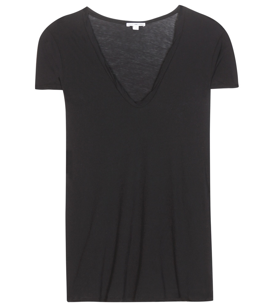 High Gauge Cotton T Shirt - neckline: low v-neck; pattern: plain; style: t-shirt; predominant colour: black; occasions: casual; length: standard; fibres: cotton - stretch; fit: loose; sleeve length: short sleeve; sleeve style: standard; pattern type: fabric; texture group: jersey - stretchy/drapey; season: s/s 2016; wardrobe: basic