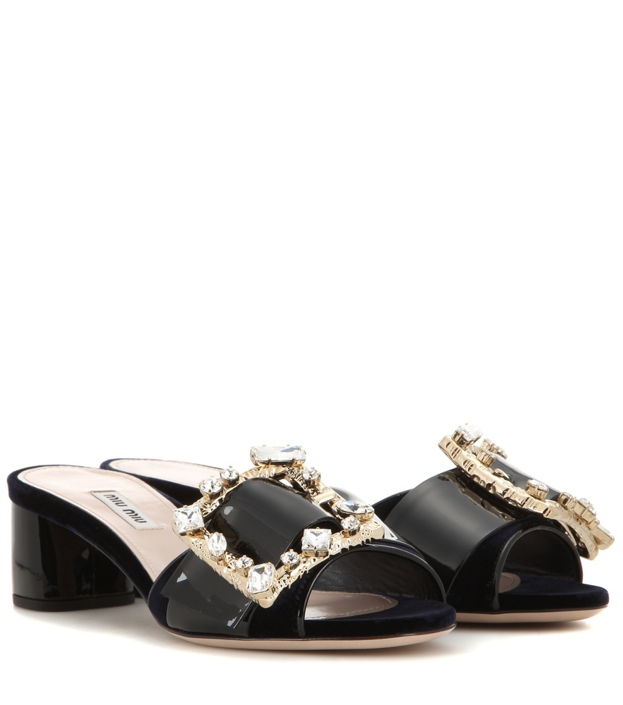 Embellished Velvet And Patent Leather Sandals - predominant colour: black; occasions: evening, holiday; material: velvet; heel height: mid; embellishment: crystals/glass; heel: block; toe: open toe/peeptoe; style: slides; finish: plain; pattern: plain; season: s/s 2016; wardrobe: highlight