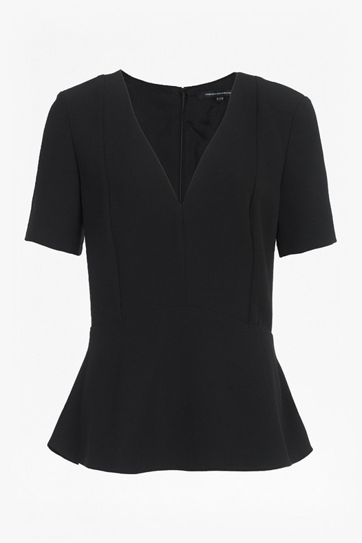 Arrow Crepe Peplum Top Black - neckline: v-neck; pattern: plain; style: blouse; waist detail: peplum waist detail; predominant colour: black; occasions: work, creative work; length: standard; fibres: polyester/polyamide - 100%; fit: tailored/fitted; sleeve length: short sleeve; sleeve style: standard; texture group: crepes; pattern type: fabric; season: s/s 2016; wardrobe: basic