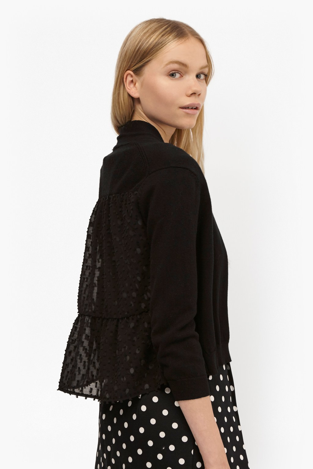 Bow Fringe Cropped Cardigan Black - pattern: plain; neckline: collarless open; style: open front; predominant colour: black; occasions: casual, creative work; length: standard; fibres: cotton - mix; fit: standard fit; sleeve length: 3/4 length; sleeve style: standard; texture group: knits/crochet; pattern type: knitted - fine stitch; season: s/s 2016; wardrobe: basic