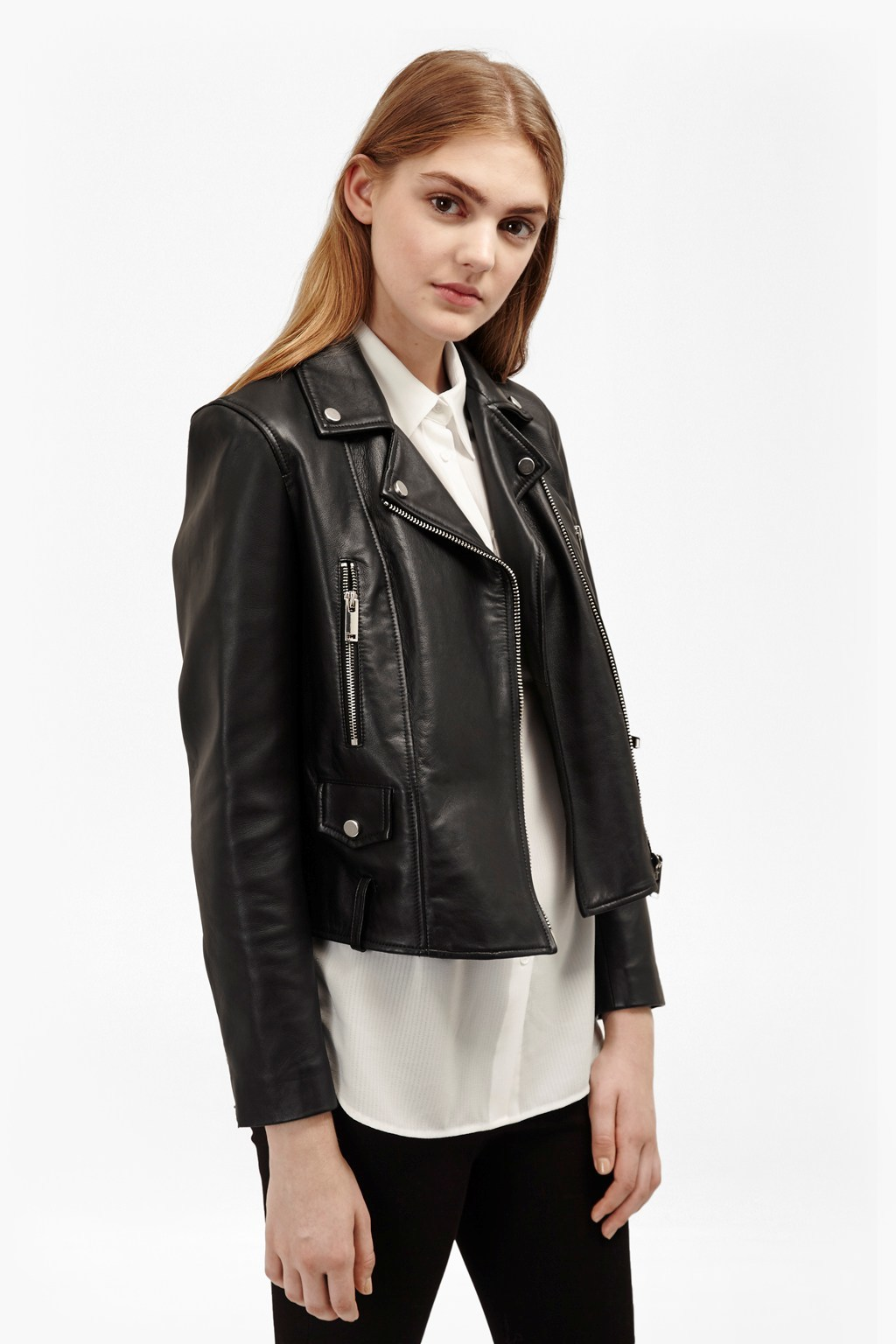 Lydia Leather Jacket Black - pattern: plain; style: biker; collar: asymmetric biker; predominant colour: black; occasions: casual, creative work; length: standard; fit: tailored/fitted; fibres: leather - 100%; sleeve length: long sleeve; sleeve style: standard; texture group: leather; collar break: medium; pattern type: fabric; season: s/s 2016; wardrobe: basic